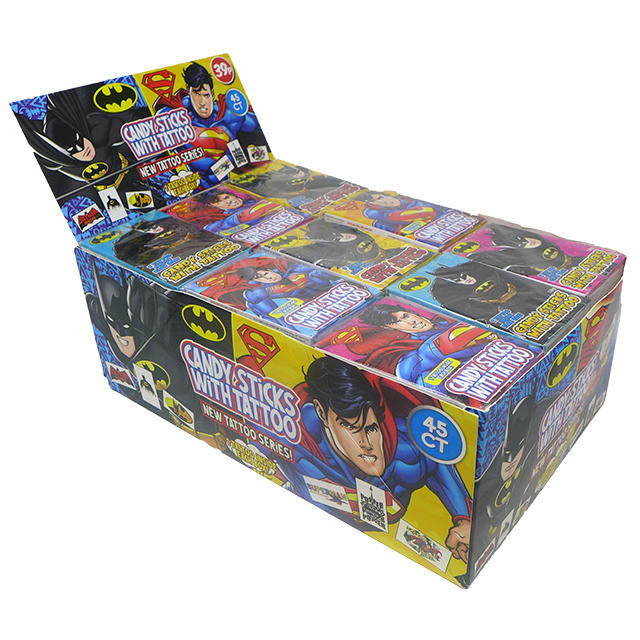 Batman and Superman Candy Sticks