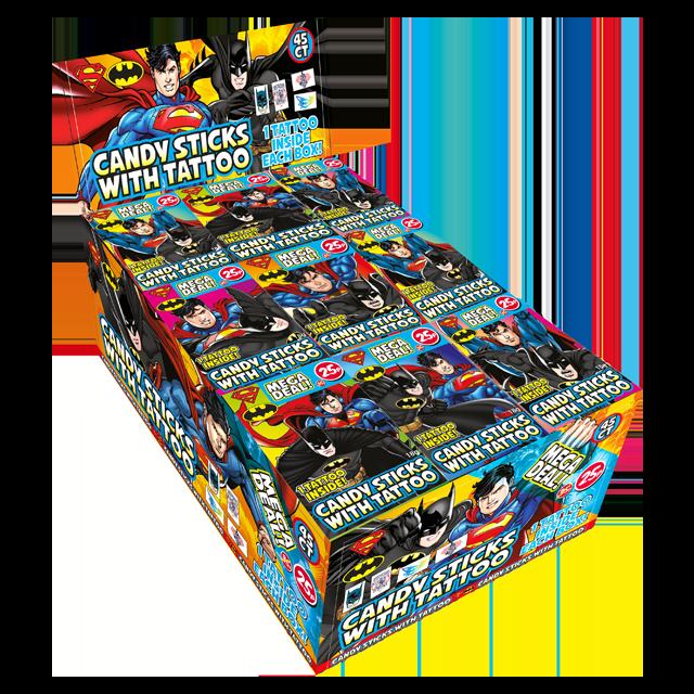 Batman and Superman Candy Sticks