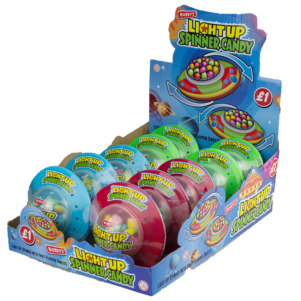 Light Up UFO Spinner Candy